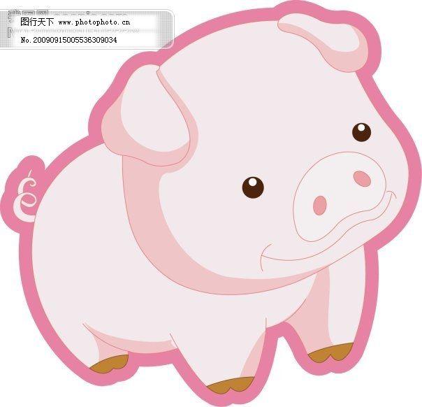矢量可爱卡通猪