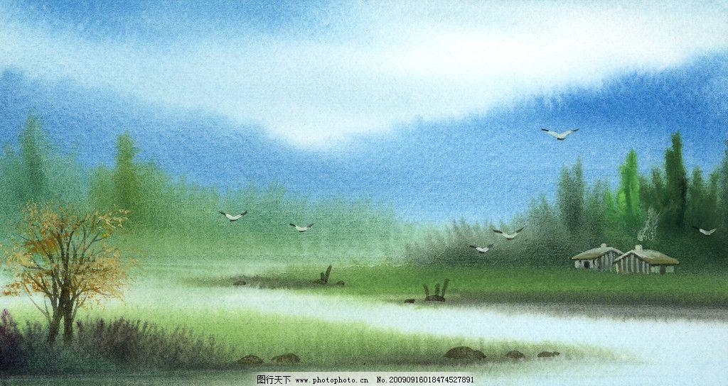 手绘风景 小河流水 飞鸟 风景漫画 动漫动画 设计 460dpi jpg