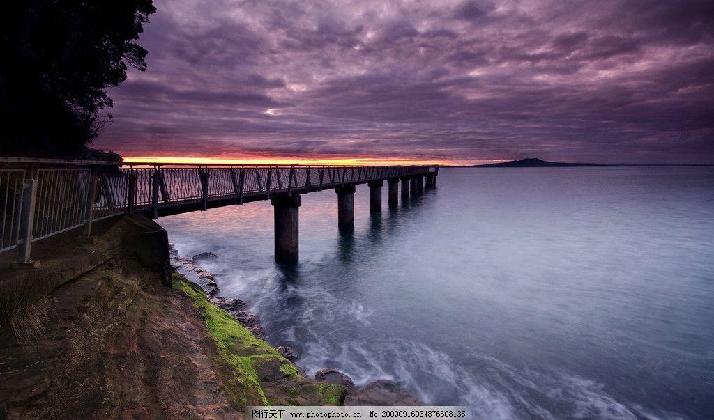 大自然风景摄影艺术 桥山 日落 海边 水
