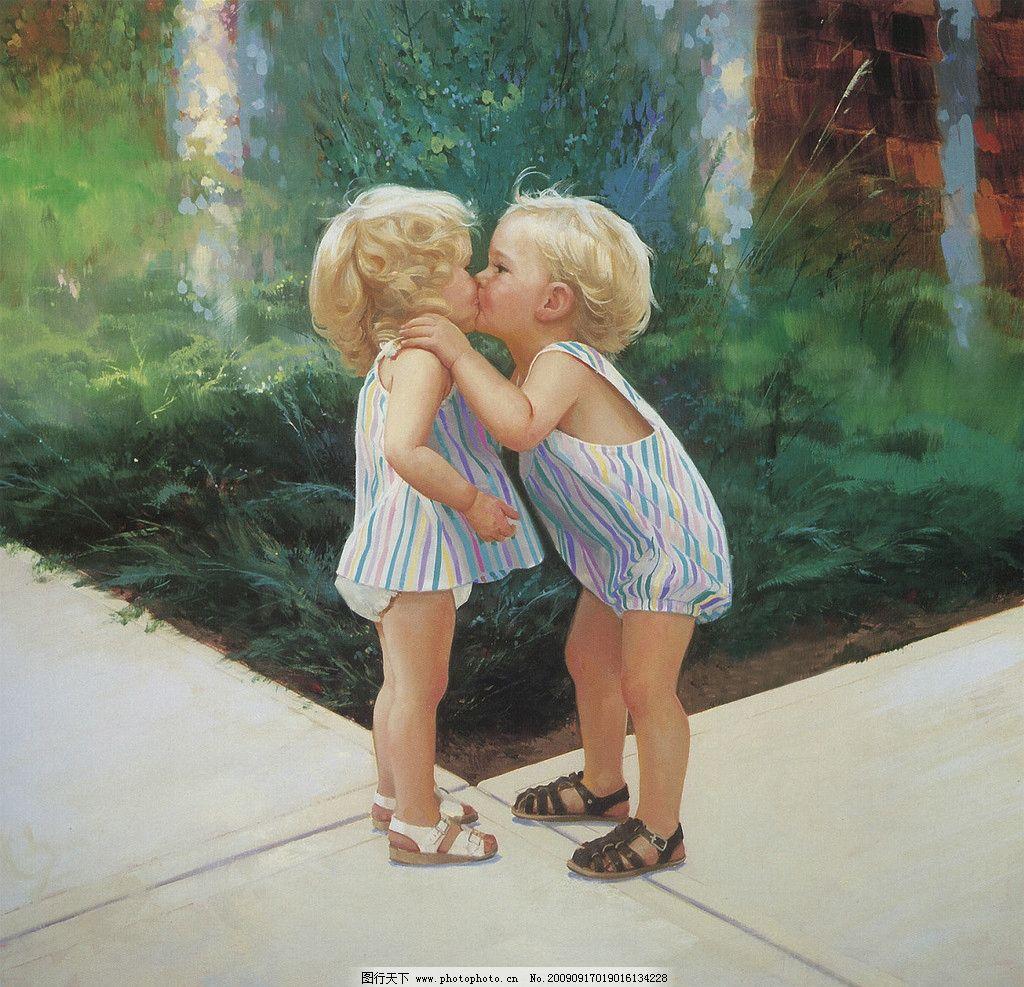 两个小孩子 小男孩 小女孩