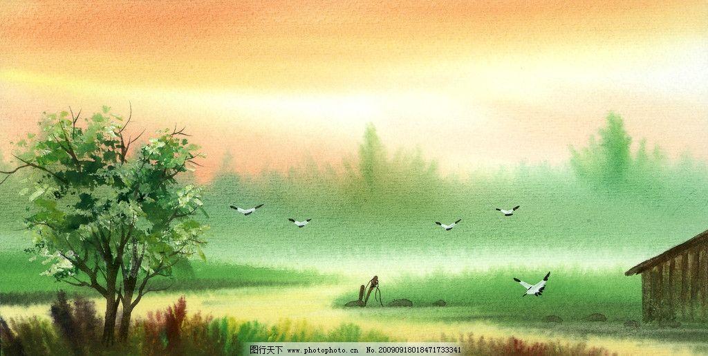 手绘风景 晚霞 飞鸟 树 小河 动漫动画