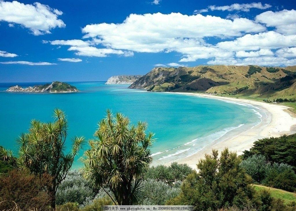 蓝天 海 沙滩 唯美 梦幻 白云 绿树 山水摄影 国内旅游 旅游摄影