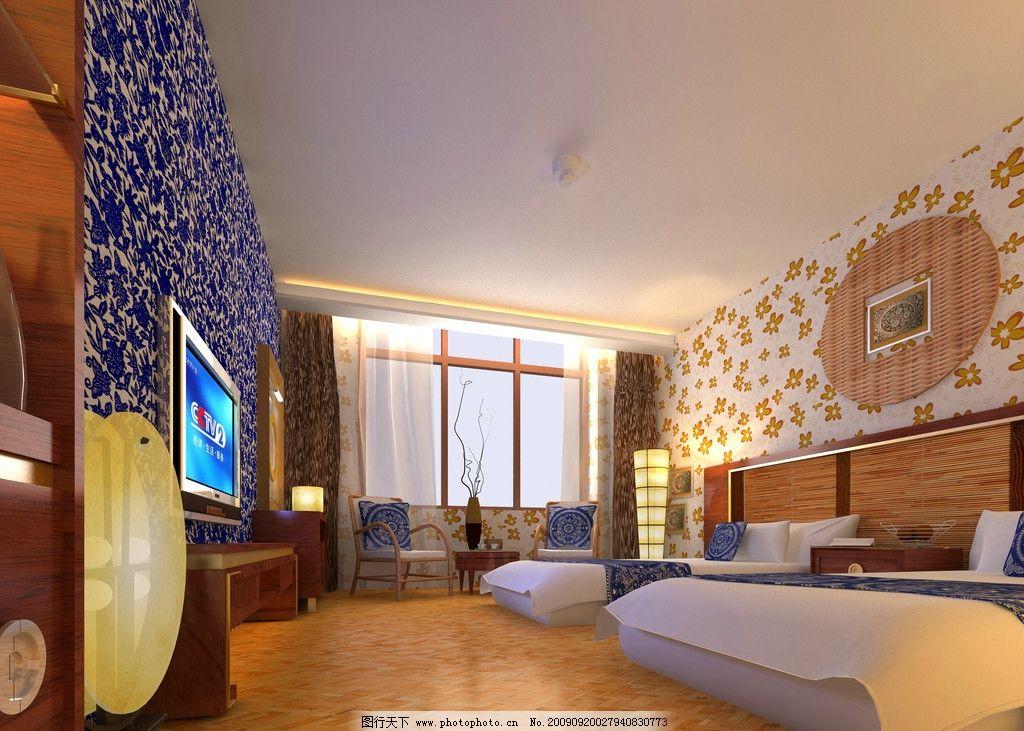 宾馆客房效果图 酒店客房效果图 宾馆标准间效果图 室内设计 环境设计
