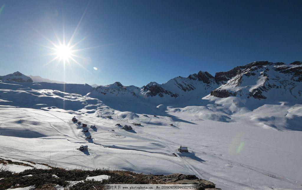 雪地 高山 太阳 纯净 山顶 山水风景 自然景观 摄影