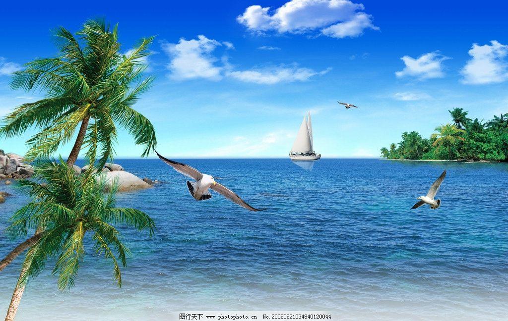 蓝天白云大海椰树 湛蓝海天椰树 云彩 船 海鸟 椰子树 小海湾 自然
