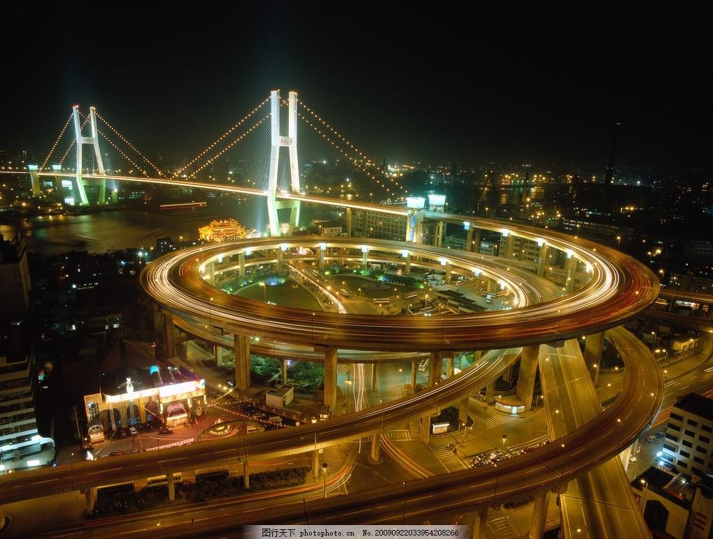 圆形立交桥夜景 圆形立交桥夜景图片 公路 高架桥 道路 交通 国内旅游