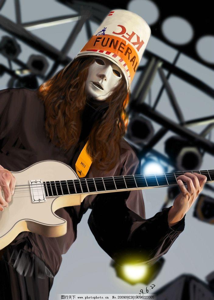 吉他手 摇滚 乐队 手绘