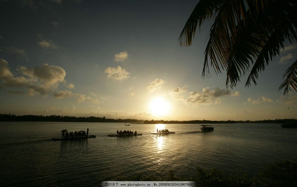 海南万泉河 夕阳 海南风光 自然风景 旅游摄影 300dpi jpg