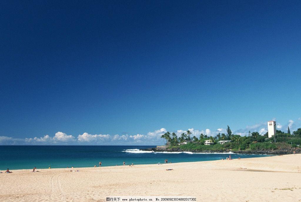 夏威夷 海滩 蓝天沙滩 自然风景 自然景观 摄影 350dpi jpg