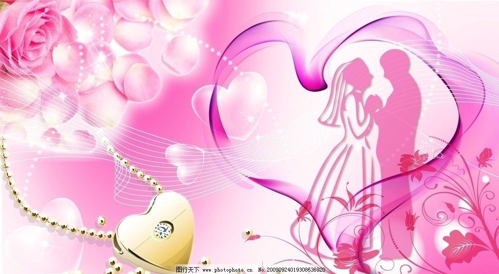 婚庆 项链 玫瑰花 心形 花纹 情侣 婚庆背景 情人节素材 节日素材