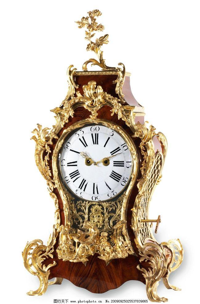 欧式金色花边钟表图片