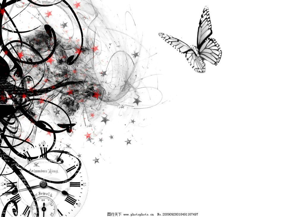 蝴蝶 花纹 素雅 白底 黑色 移门 动漫动画