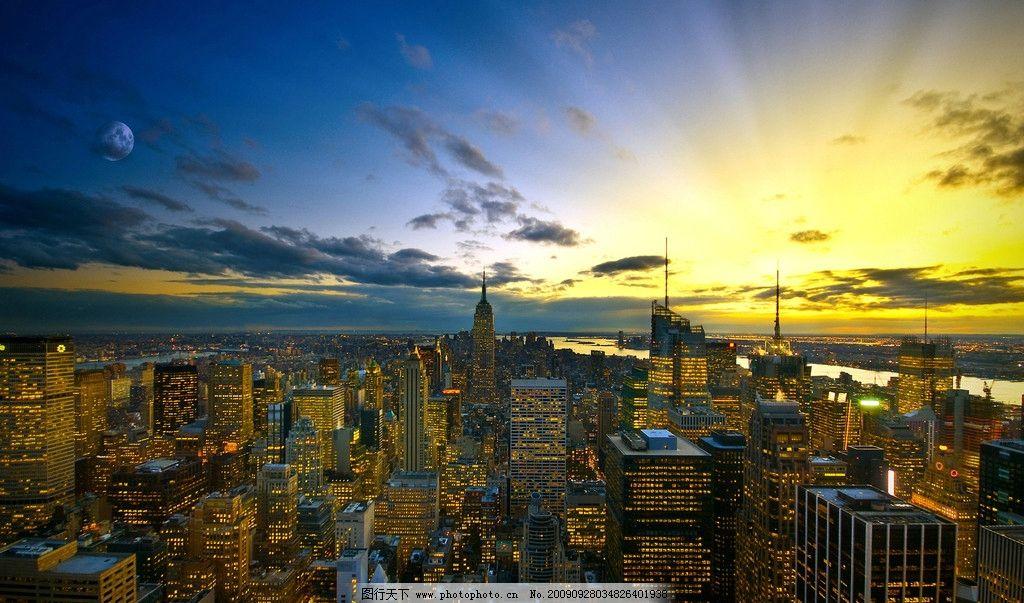 日落风景 日出 金黄色 天空 晚霞 海边 城市 高楼 建筑群 摄影