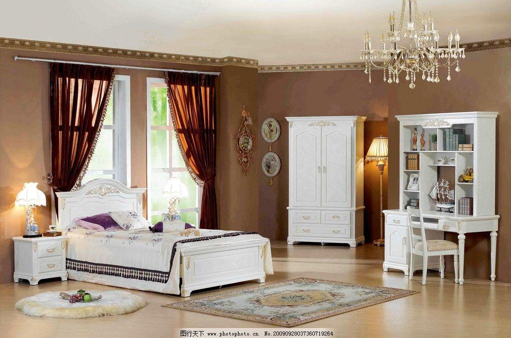 室内装修 主卧室精装修 高清写真 床 窗帘 地板 梳妆台 床柜 家居生活