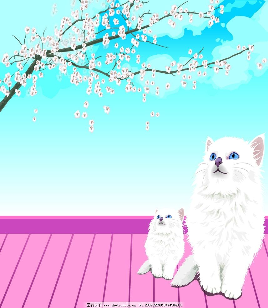 猫 等待 木板 梅花 风景漫画 动漫动画 设计 72dpi jpg