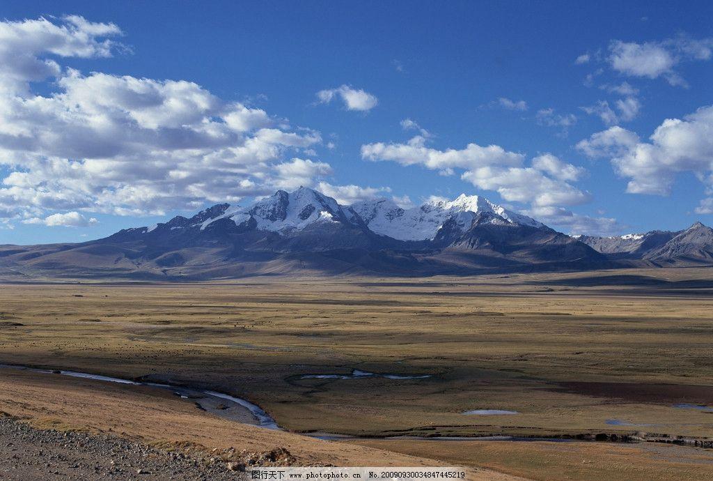 雪山 草地 群山 小溪 蓝天 白云 自然风景 自然景观 摄影